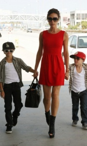 2010 Victoria and her boys at LAX airport