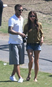 The Beckhams watching the boys play soccer