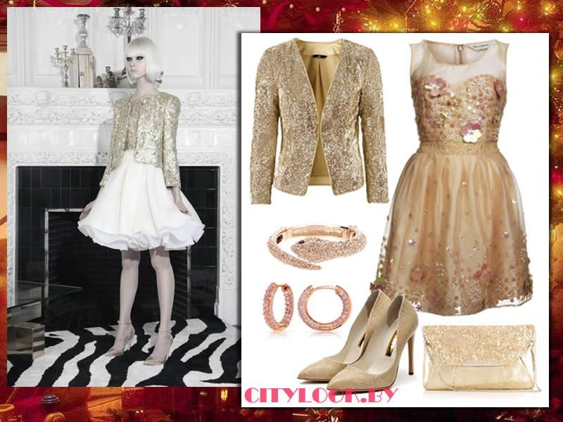 Белый золотистый платье